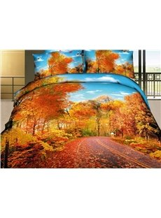 Beautiful Autumn Scene with Fallen Leaves 4 Piece Bedding Sets