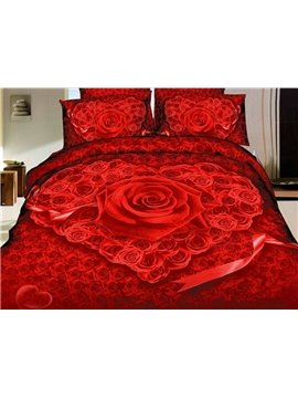 Heart Shape Roses Print 4 Piece Bedding Sets/Duvet Cover Sets