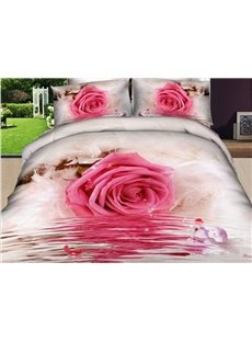 Romantic Pink Roses Print 4 Piece Bedding Sets/Comforter Sets