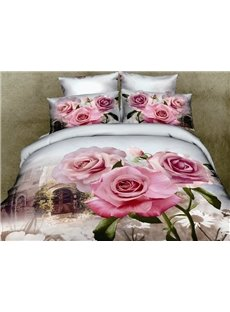 New Arrival Romantic Pink Roses Print 4 Piece Bedding Sets/Comforter Sets
