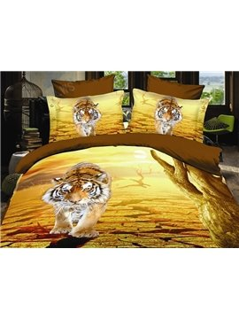 New Arrival Lifelike 3D Tiger  Print 4 Piece Bedding Sets/Duvet Cover Sets