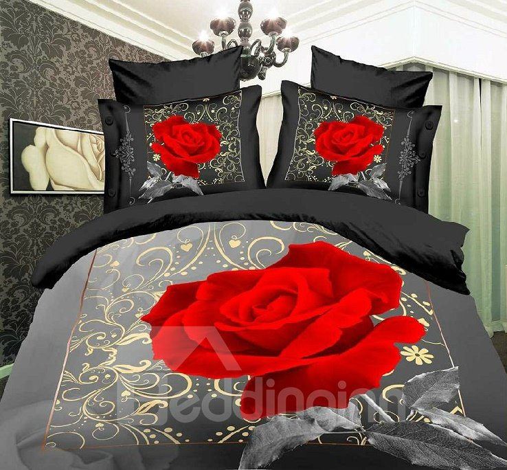 100% Cotton Big Red Roses Print 4 Piece Bedding Sets/Duvet Cover Sets