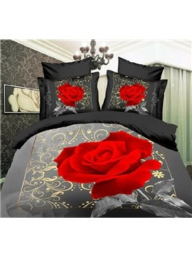 100% Cotton Big Red Roses Print 4 Piece Bedding Sets/Comforter Sets