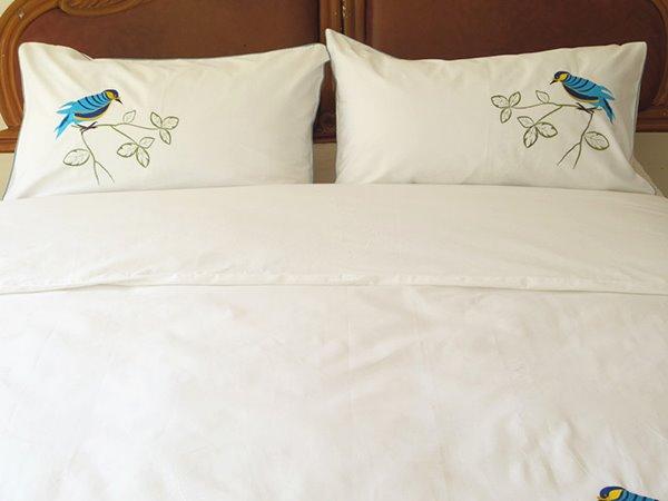 New Arrival Handmade Embroidery Bird Theme All Cotton 4 Piece Bedding Set