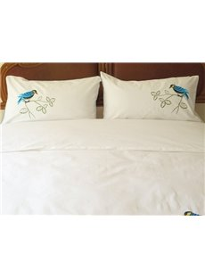 New Arrival Handmade Embroidery Bird Theme All Cotton 4 Piece Bedding Set
