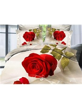 Lovely Big red rose Print 4 Piece Bedding Sets/Comforter Sets