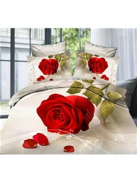 Lovely Big red rose Print 4 Piece Bedding Sets