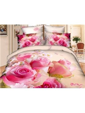 100% Pure Cotton Lovely Little Pink Flowers Print 4 Piece Bedding Sets/Duvet Cover Sets