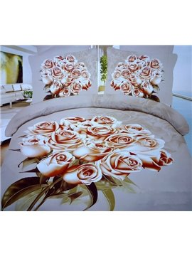 Elegant Color 3D a bunch of roses Print 4 Piece Bedding Sets/Comforter Sets