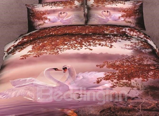 4de39936ca08 Lovely a couple of White Swan Print 4 Piece Bedding Sets/Duvet Cover Sets -