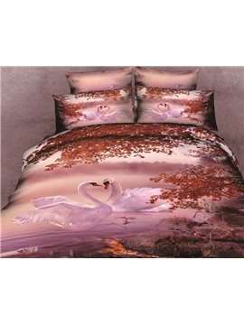 Lovely a couple of White Swan Print 4 Piece Bedding Sets/Comforter Sets