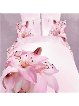 Elegant Pink Lilies Print 4 Piece Bedding Sets