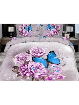 Elegant Pink Flower with butterfly Print 4 Piece Bedding Sets/Comforter Sets