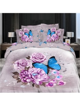 Elegant Pink Flower with butterfly Print 4 Piece Bedding Sets