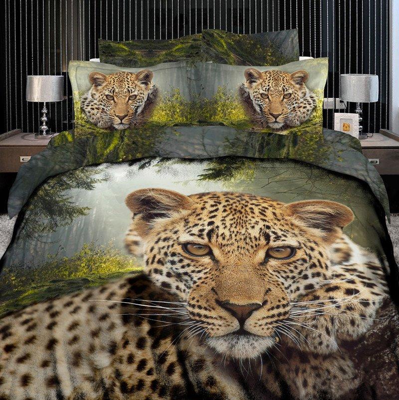 High quality Leopard Print 4 Piece Bedding Sets/Duvet Cover Sets