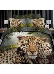 High quality Leopard Print 4 Piece Bedding Sets/Duvet Cover Sets