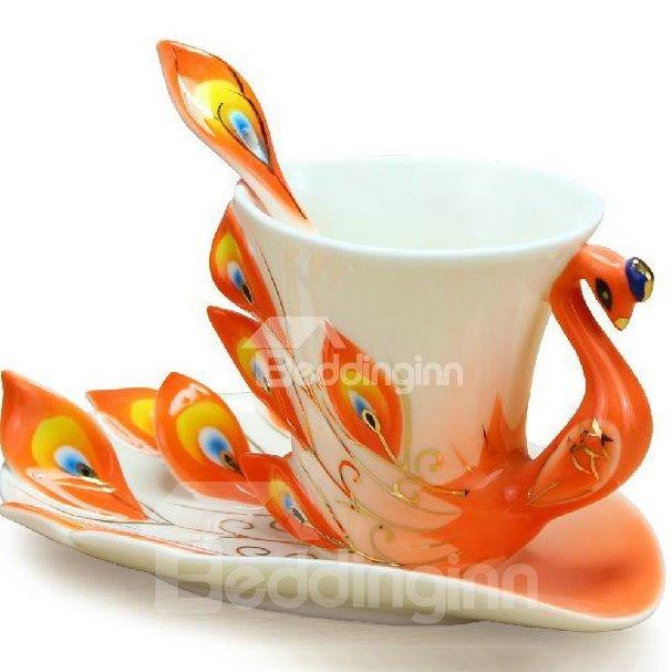 Gorgeous Porcelain Enamel Peacock Coffee Cup Set