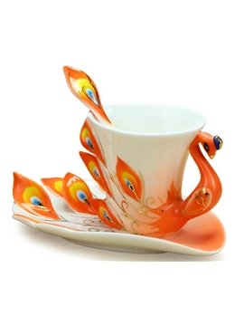 Gorgeous Porcelain Enamel Peacock Coffee Cup Set