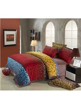 Beautiful Colorful Leopard Print Comfortable Sandedcloth Material 4 Piece Bedding Sets