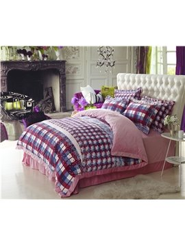 Pink Checker Pattern Comfortable Sandedcloth Material 4 Piece Bedding Sets/Duvet Cover Sets