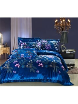 Luxury Style Blue Color Comfortable Sandedcloth Material 4 Piece Bedding Sets