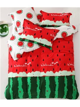 New Arrival High Quality Cartoon Watermelon Red 4 Piece Bedding Sets