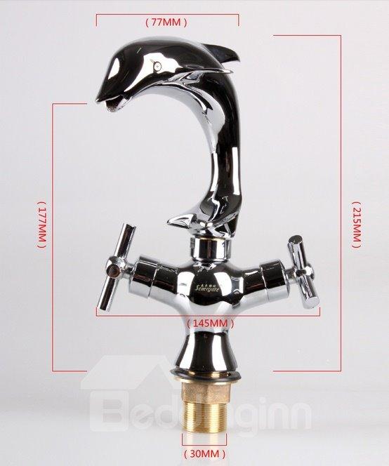 Amazing Dolphin Shape Pure Brass 2-Handle Bathroom Faucet