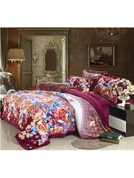 Luxury Big Flower  Print sandedcloth material 4 Piece bedding Sets
