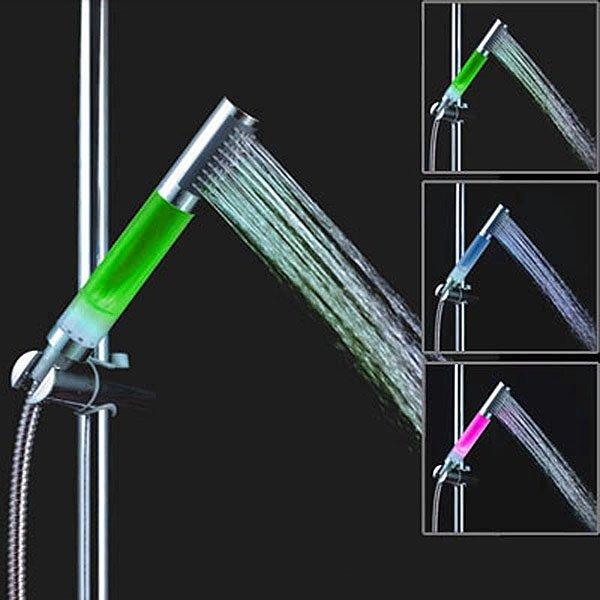 Unique Design Handheld LED Shower Head Faucet Changing 3 Color by Temperature