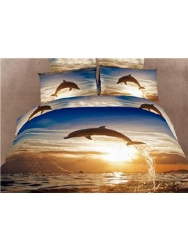 New Arrival High Quality 100% Cotton Reactive Printing Dolphins 4 Piece Bedding Sets