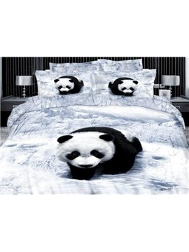 High quality Cute Panda Print 4 Piece Bedding Sets
