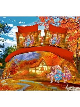 New Arrival fairy tale cabin with Girls  Print 4 Piece Polyester Bedding Sets/Duvet Cover  Sets