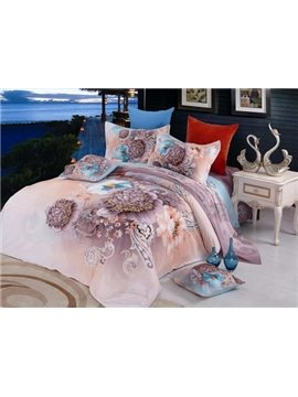 Elegant Flower Print 4 Piece Bedding Sets/Duvet Cover Sets