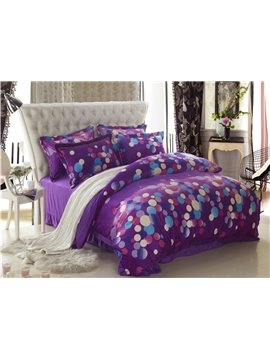 Classic Dots Print Purple 4 Piece Bedding Sets/Duvet Cover Sets