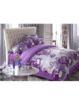 Romantic Heart Shape  Flower Print  Purple Sandedcloth material 4 Piece bedding Sets