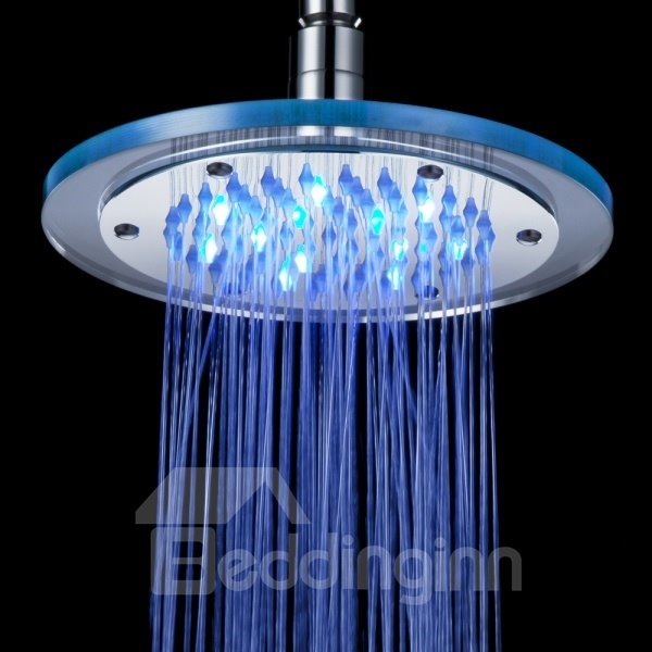 Unique Copper with Organic Glass Temperature Control LED Changing Color Shower Head Faucet