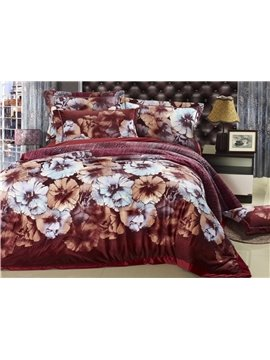 Big Elegant Flower Print Red 4 Piece Bedding Sets/Duvet Cover Sets