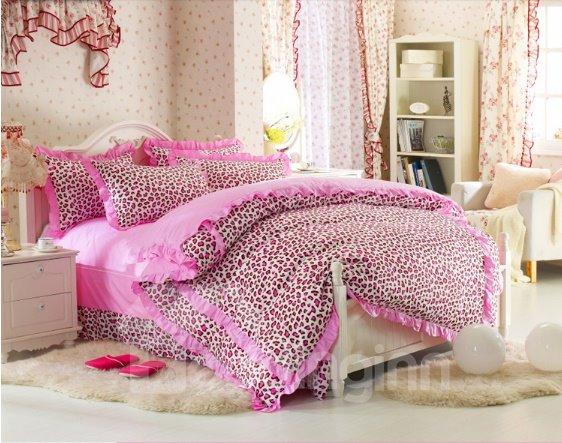 Cute Pink Leopard Print 4 Piece Bedding Sets/Duvet Cover Sets