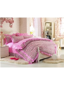 Cute Pink Leopard Print 4 Piece Bedding Sets/Duvet Cover Sets