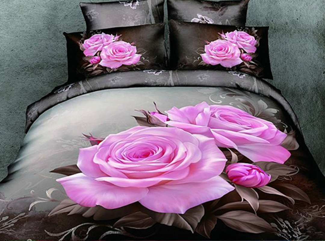 100% Cotton Lifelike Big Pink Roses Print 4 Piece Bedding Sets