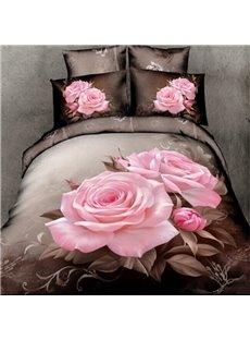 100 Cotton Lifelike Big Pink Roses Print 4 Piece Bedding Sets