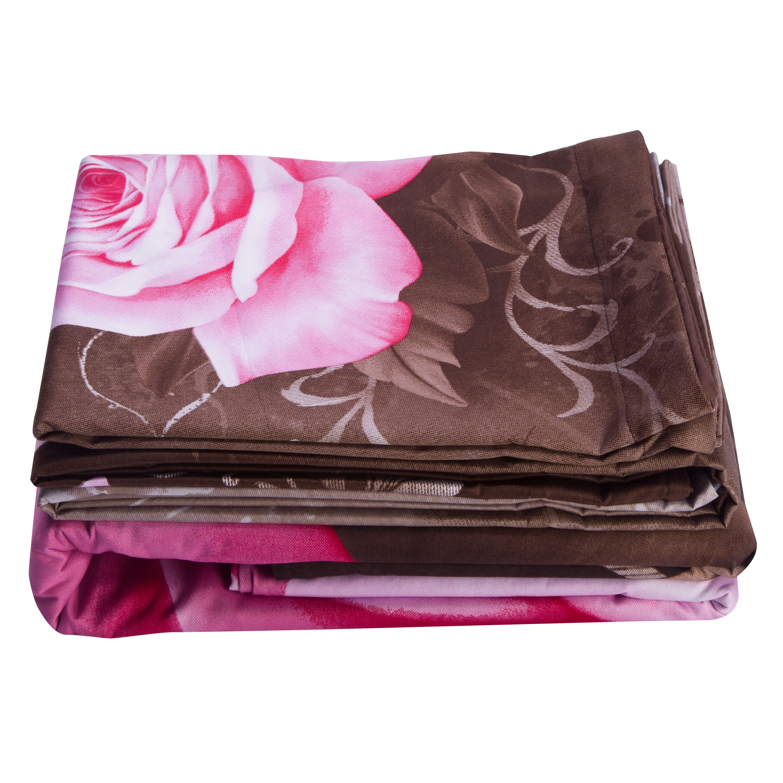 100% Cotton Lifelike Pink Rose Print 4-Piece Duvet Cover Sets