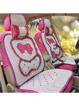Pretty Bow with Lace Style Ice Silk Material Fashion Lady's Universal Seat Covers