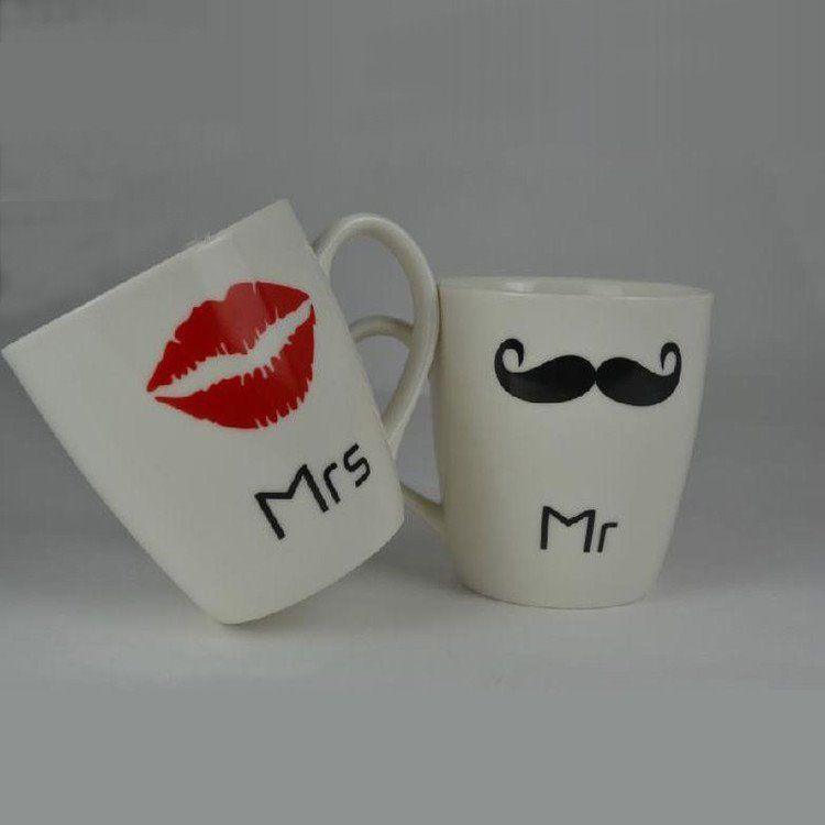 New Arrival Unique One Pair Mr and Mrs Cup with Sexy Lip or Beard 10712763
