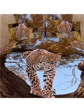 Leopard standing on a tree Print 4 Piece Bedding Sets/Comforter Sets