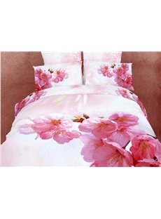 Lovely Pink Plum Blossom  Print 4 Piece Bedding Sets/Duvet Cover Sets