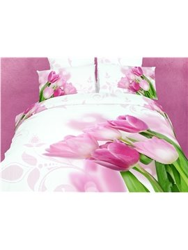 Lovely Pink Tulip Blossom  Print 4 Piece Bedding Sets/Duvet Cover Sets