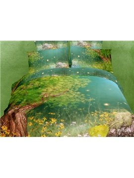 Little Yellow Flower with Tree Print 4 Piece Bedding Sets