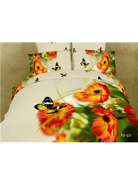 Little Red Flower with Butterfly Print 4 Piece Bedding Sets/Duvet Cover Sets