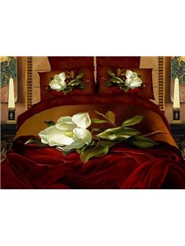 Retro Fashion White Flower Print 4 Piece Bedding Sets/Comforter Sets